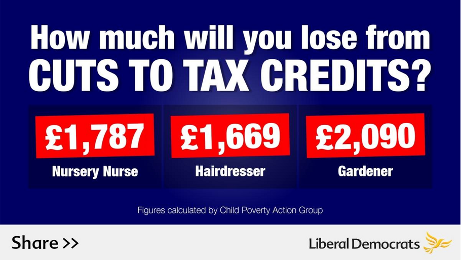 Cost of Tax Credit Cuts for ordinary workers information graphic