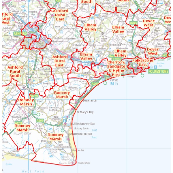 Shepway Kent County Council Division boundaries 2017 onwards (From the Boundary Commission of England final report on Kent County Division boundaries: Contains Ordnance Survey Data)