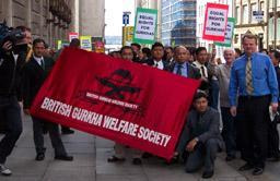 Ex-Gurkha soldiers demonstrate for Citizenship Rights in Liverpool on 1 September, supported by Peter Carroll.