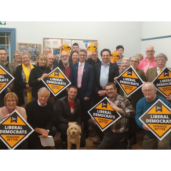 Simon Bishop with Mark Pack and Lib Dem members and supporters from across Folkestone and Hythe