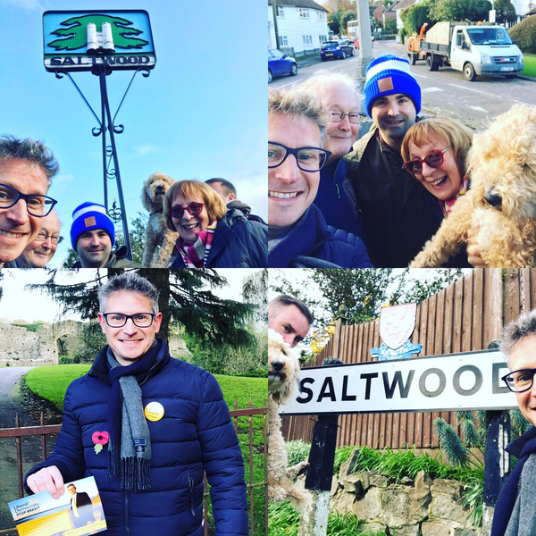 Simon Bishop and Lib Dem members and supporters campaigning in Saltwood