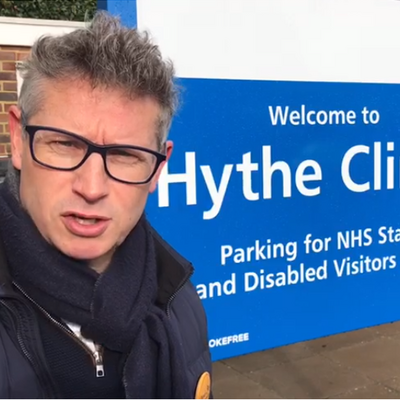 Simon Bishop outside Hythe Clinic