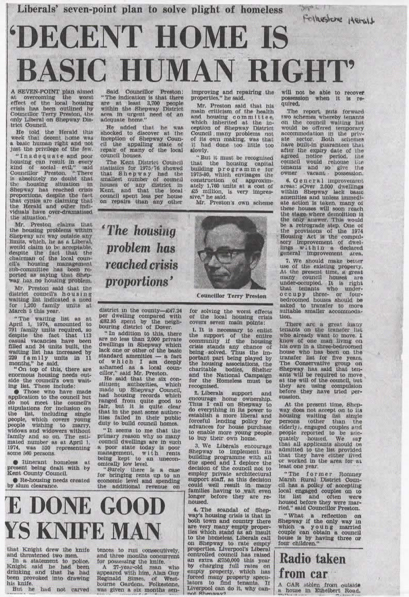 1974 housing article from newspaper from Terry Preston
